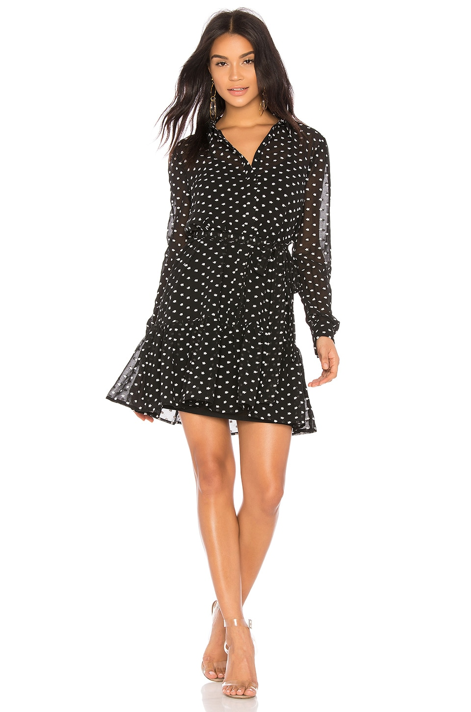 Endless Rose Drop Waist Button Up Dress in Black