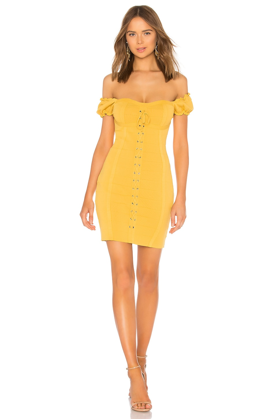Endless Rose Lace Up Corset Dress in Canary Yellow