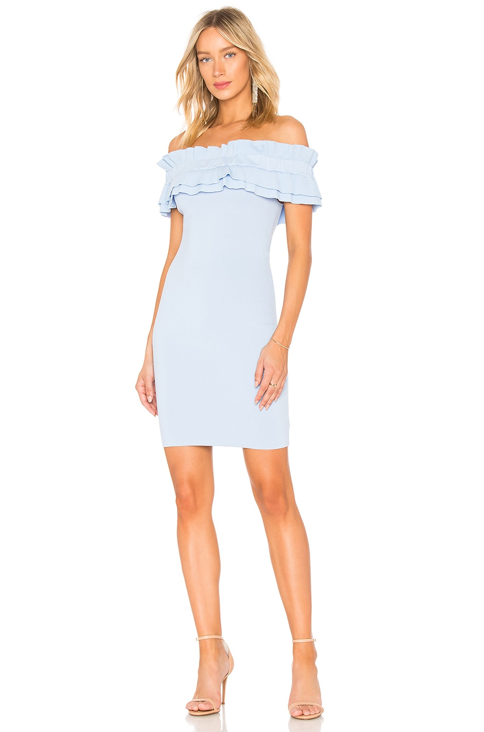 6959b39be Endless Rose Off Shoulder Knit Bodycon Dress in Powder Blue