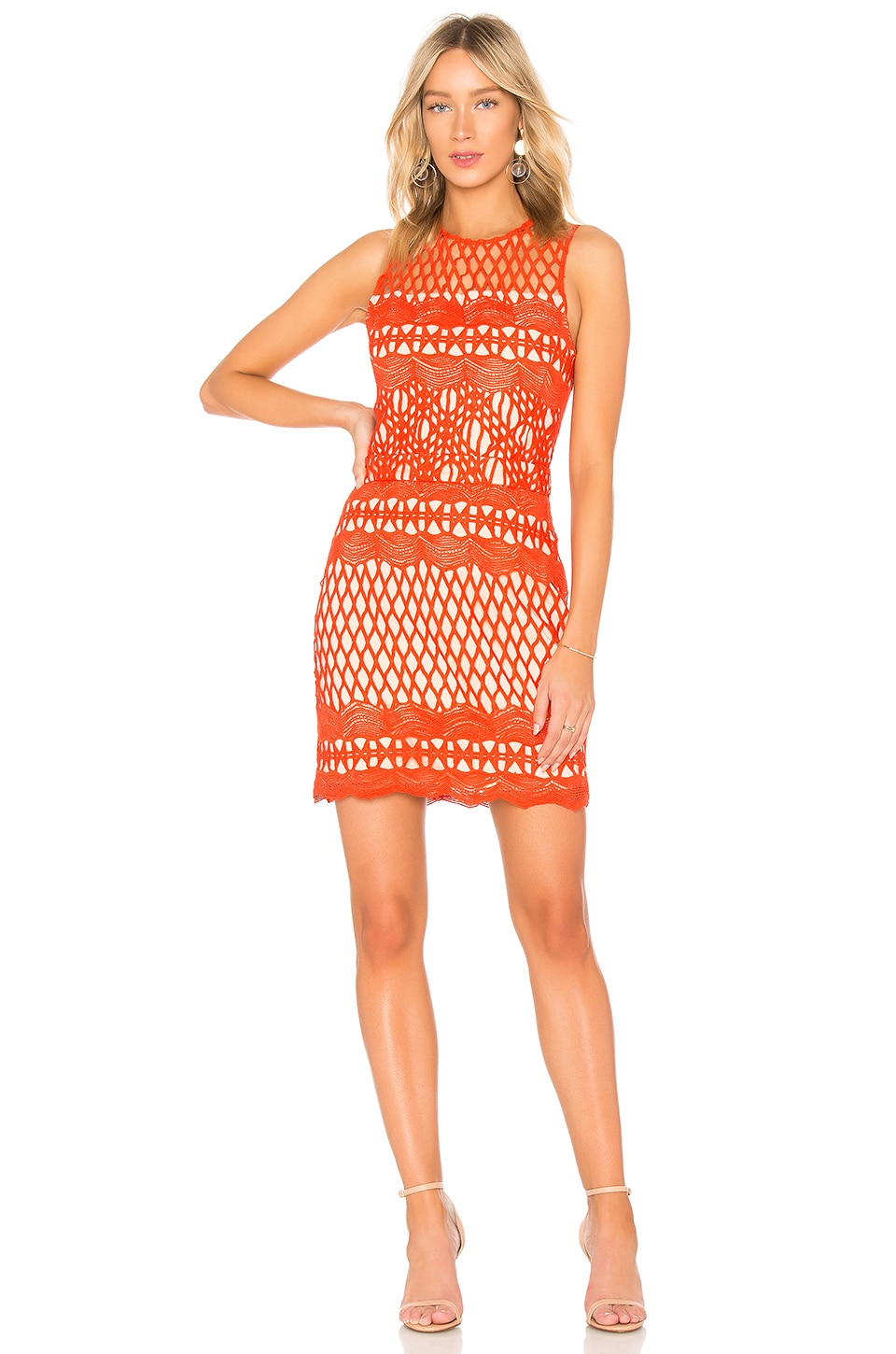 Endless Rose Guipure Lace Dress in Chili