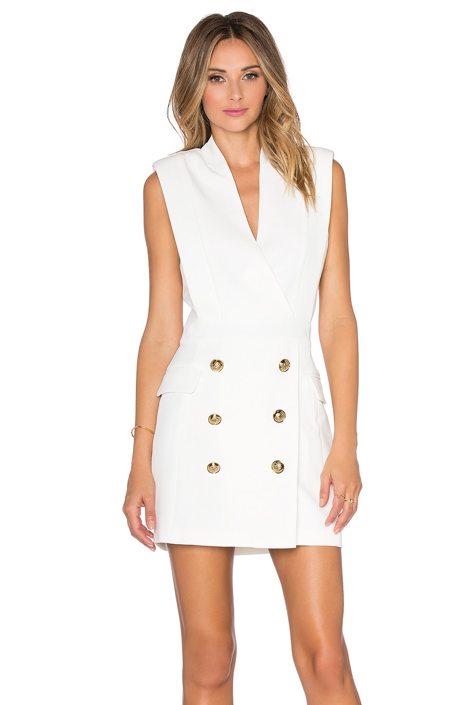 Endless Rose Button Front Dress in Off White