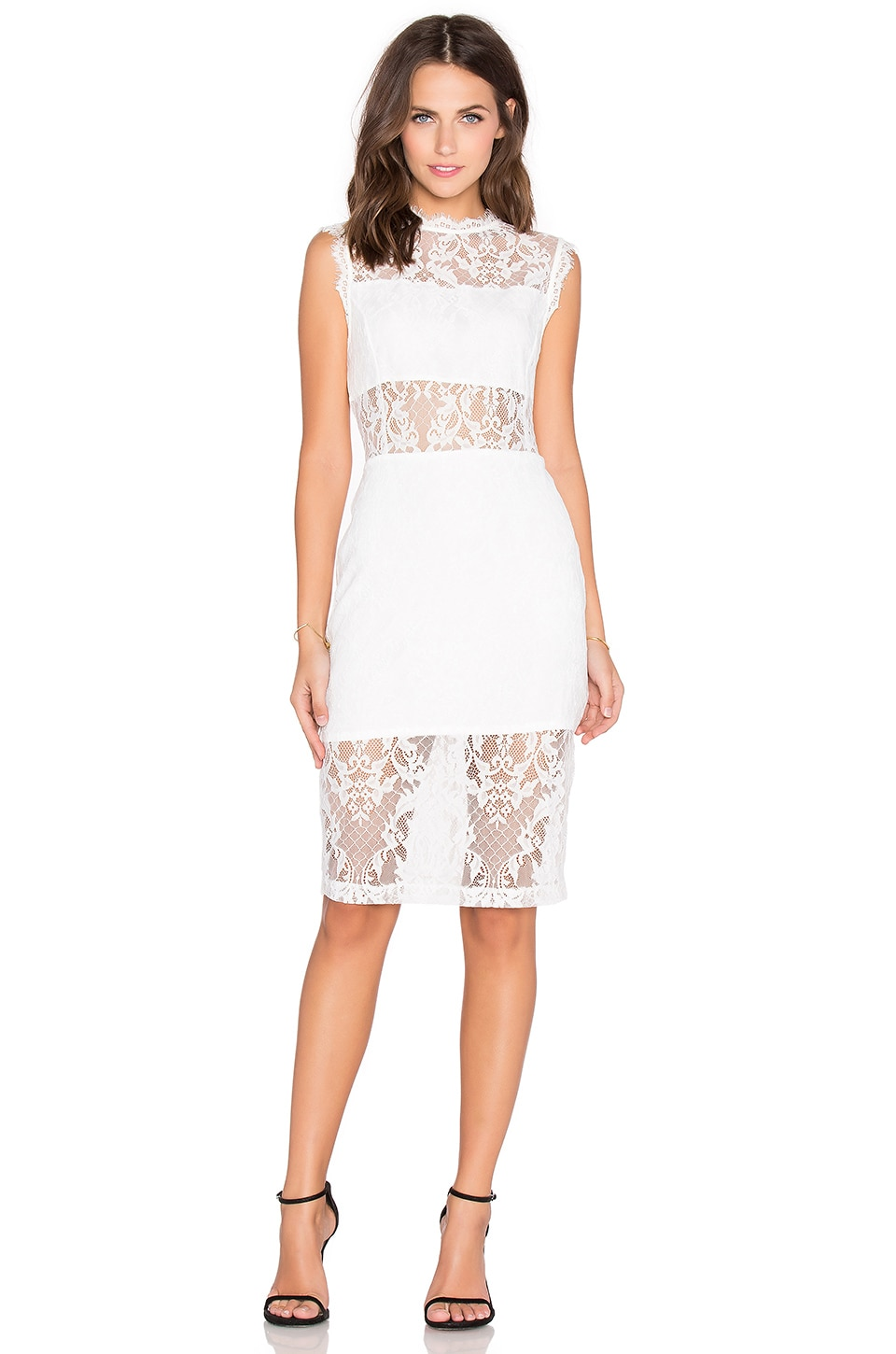 Endless Rose Lace Midi Dress in White