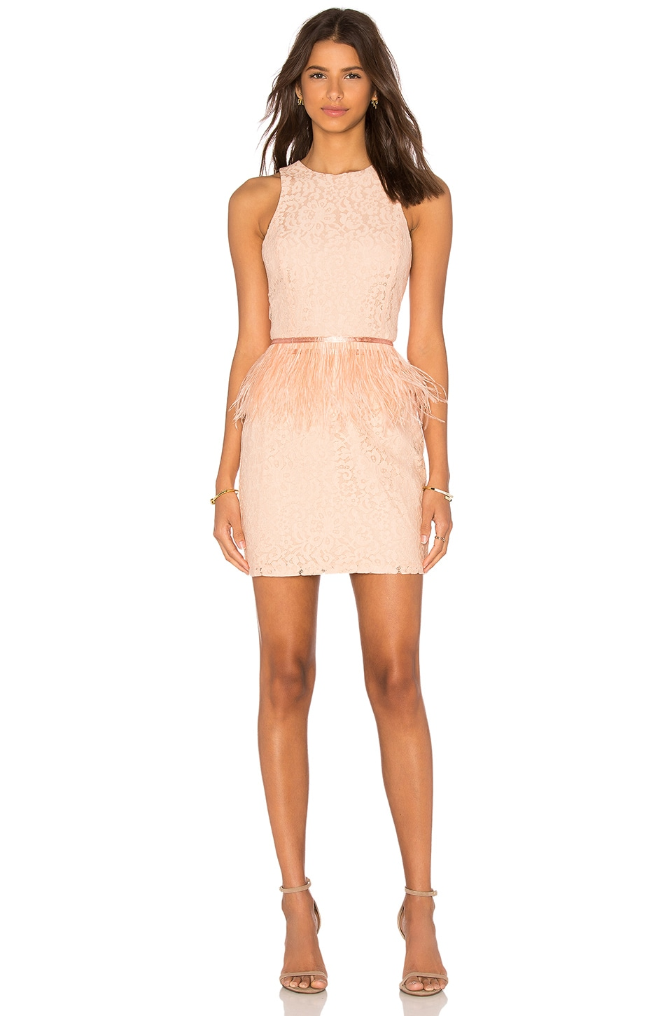 Endless Rose Lace Feather Peplum Dress in Nude Pink