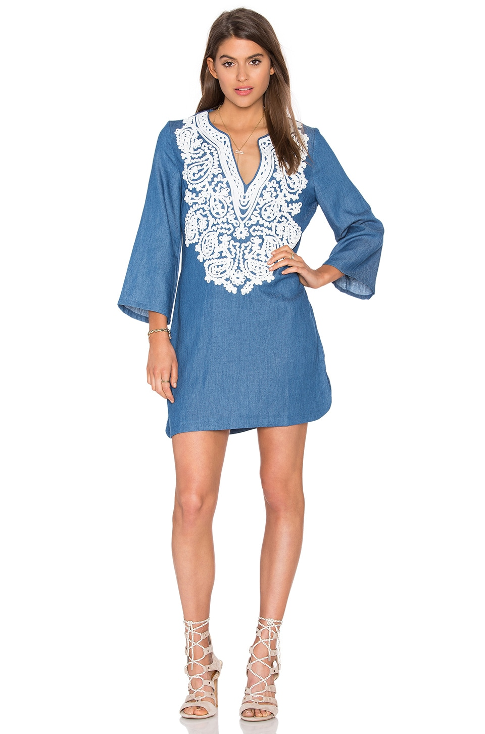 Endless Rose Embroidered Denim Shift Dress in Denim Blue