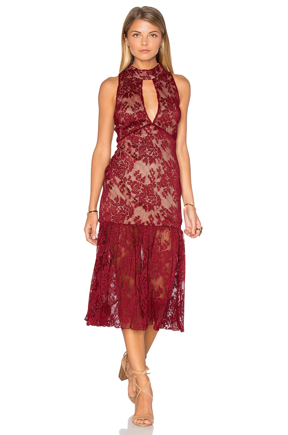 Sleeveless Lace High Neck Midi Dress by Endless Rose
