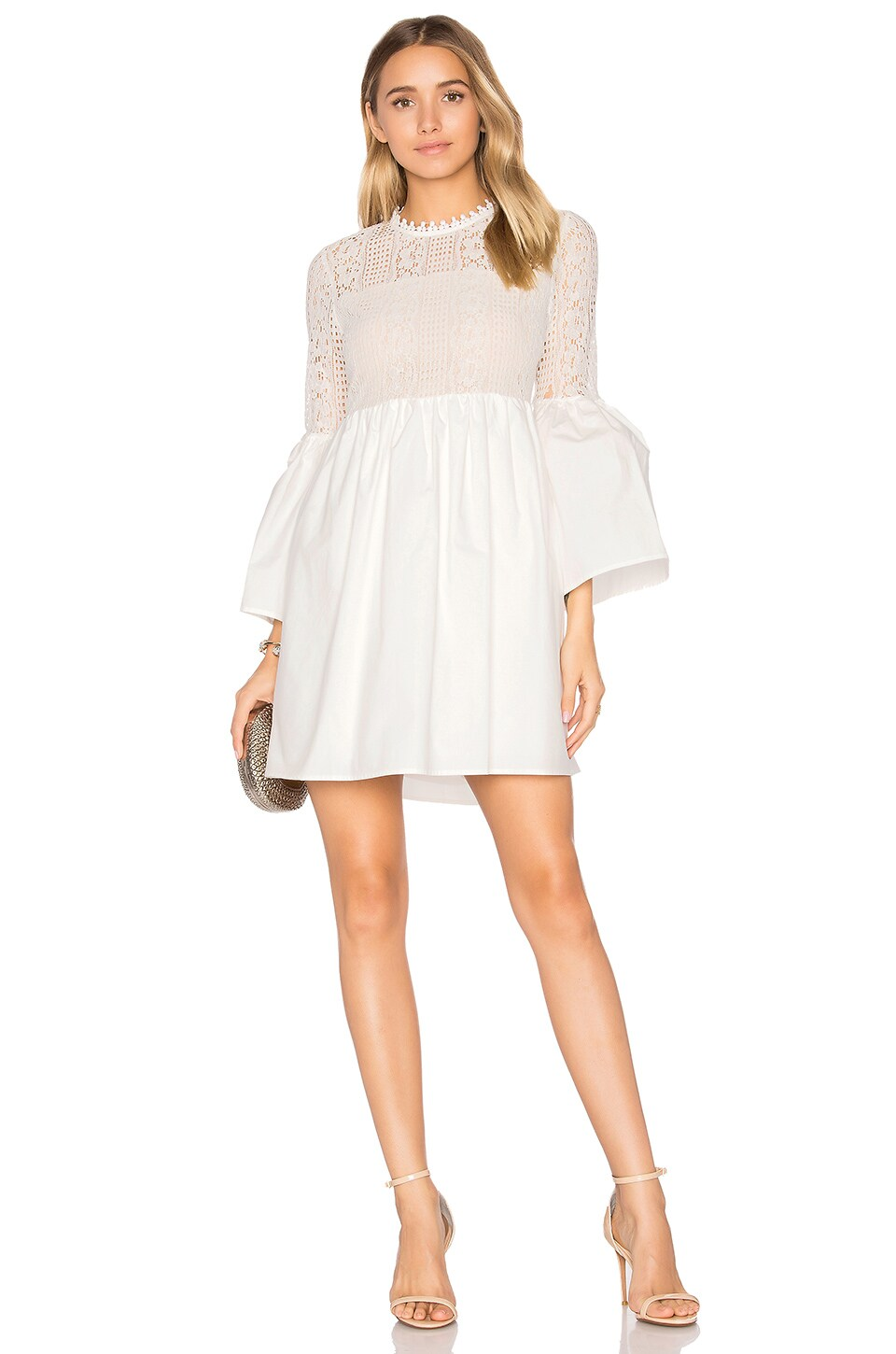 Endless Rose Flare Sleeve Lace Mini Dress in Off White