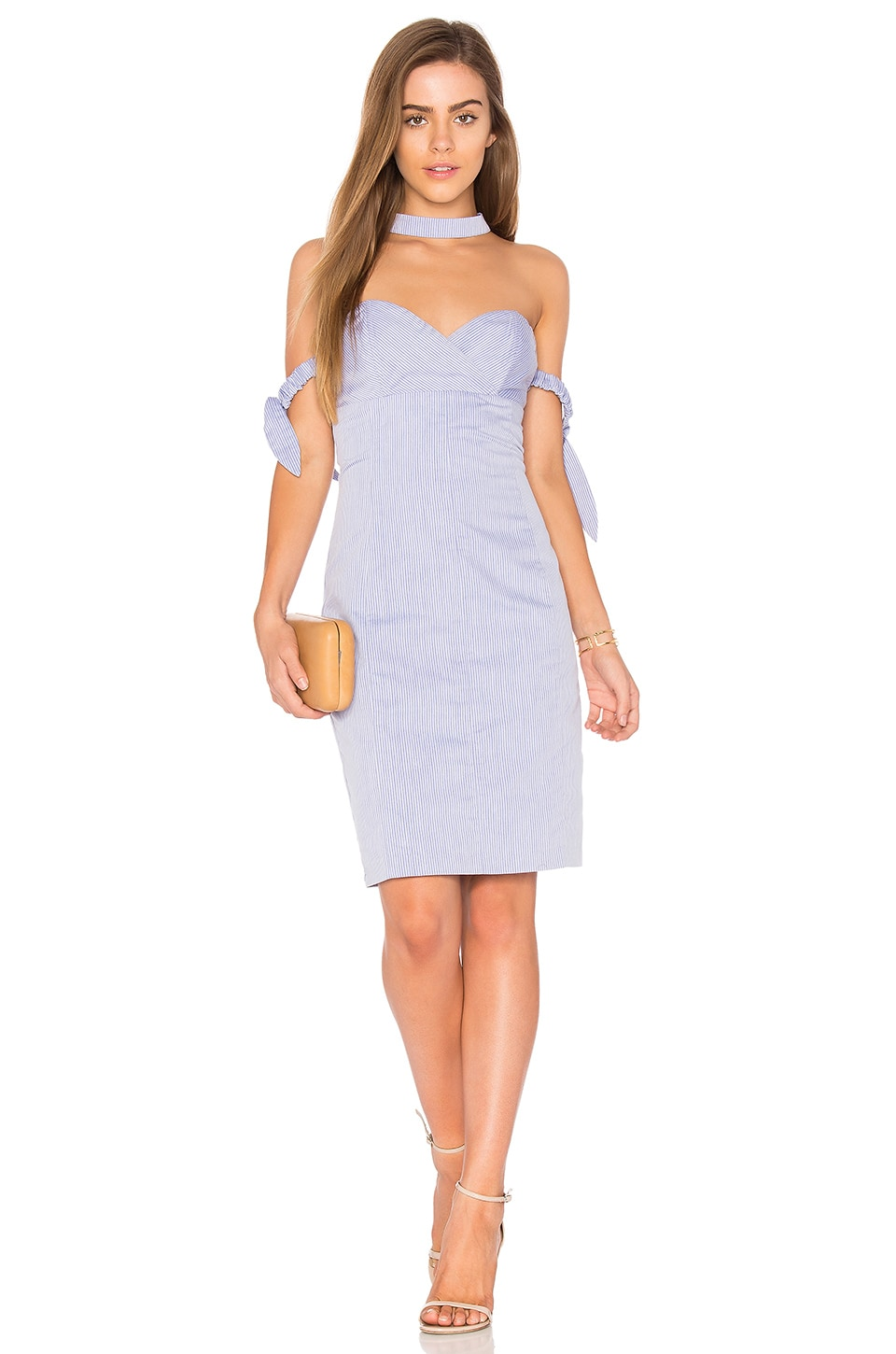 Endless Rose Off The Shoulder Mini Dress in Powder Blue