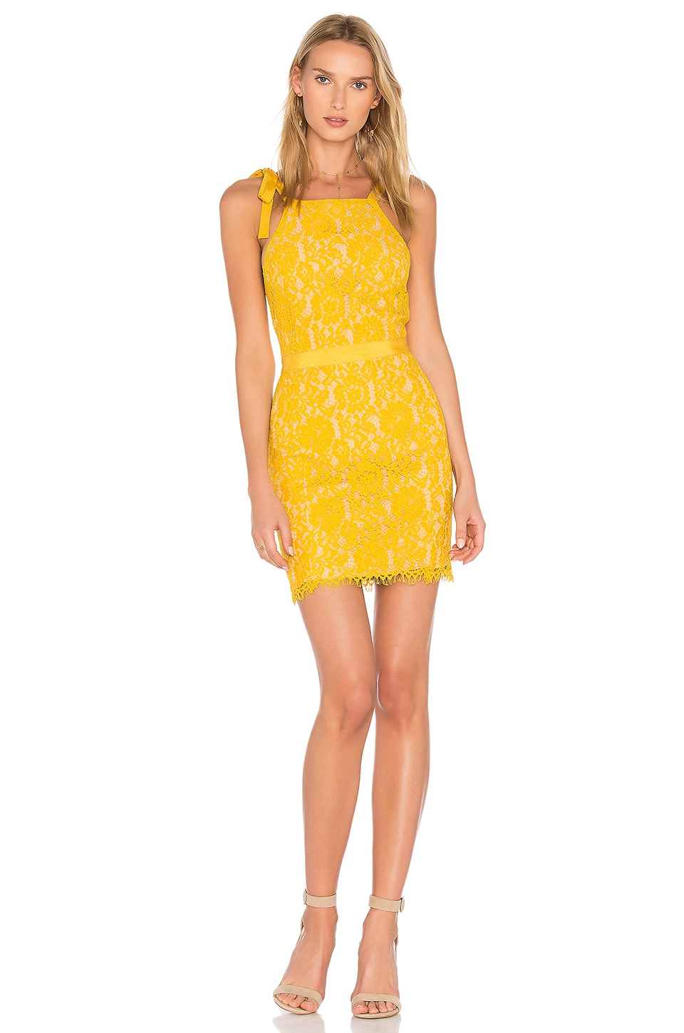 Endless Rose Tied Strap Lace Mini Dress in Honey Yellow
