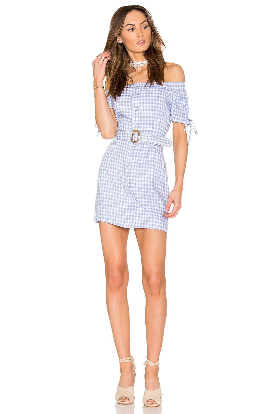 Endless Rose Off The Shoulder Plaid Dress With Belt in Periwinkle Combo
