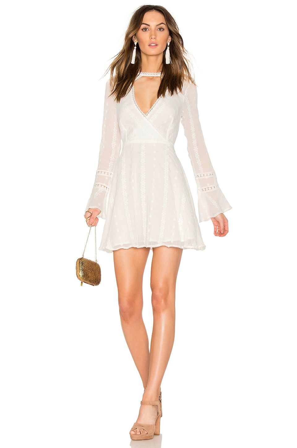 Endless Rose Flared Lace Dress with Bell Sleeves in Off White