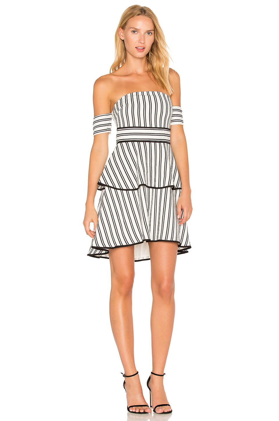 Endless Rose Striped Off the Shoulder High Low Dress in Black & White Combo