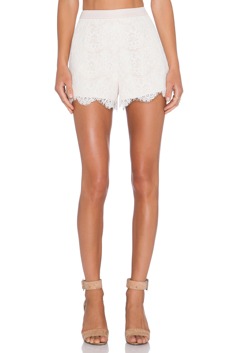 Endless Rose High Waisted Lace Shorts in Nude