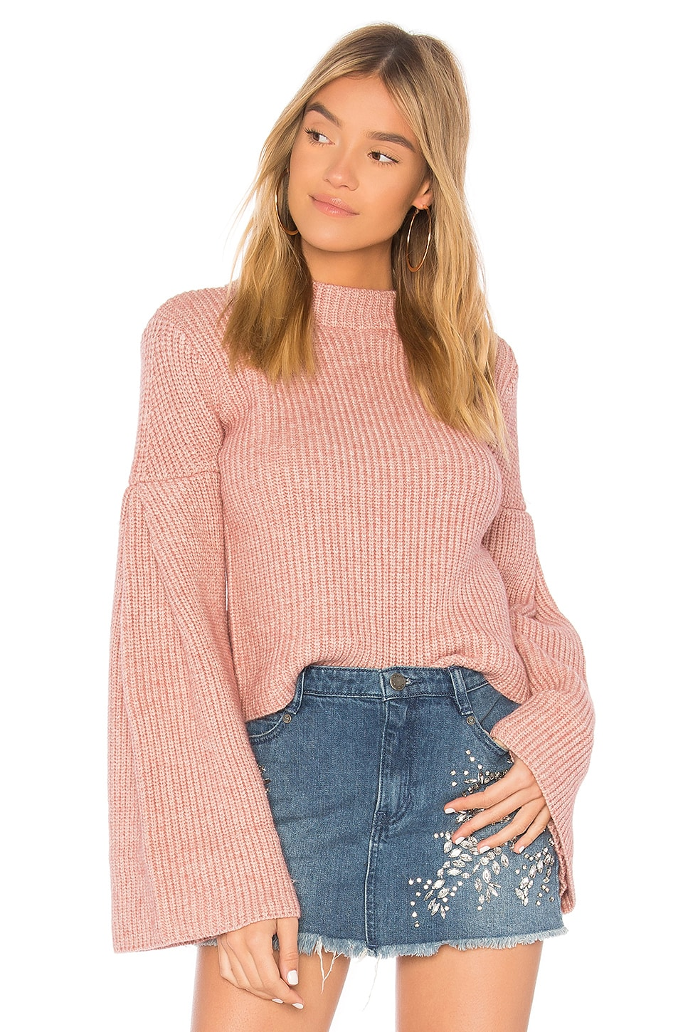Endless Rose Bell Sleeve Sweater in Azalea Pink