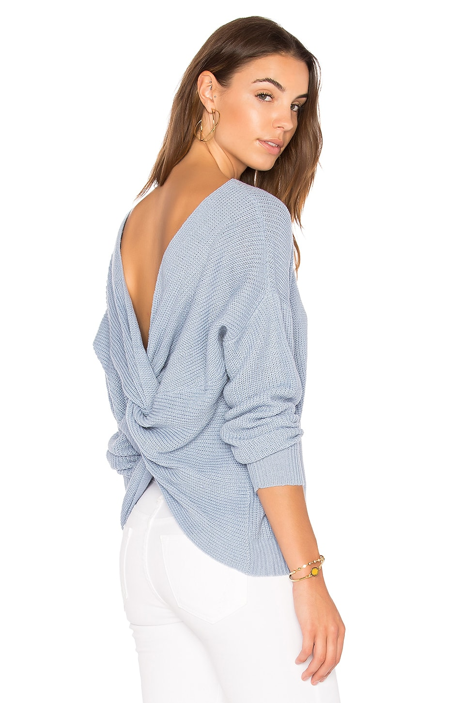 Endless Rose Back Detail Sweater in Powder Blue