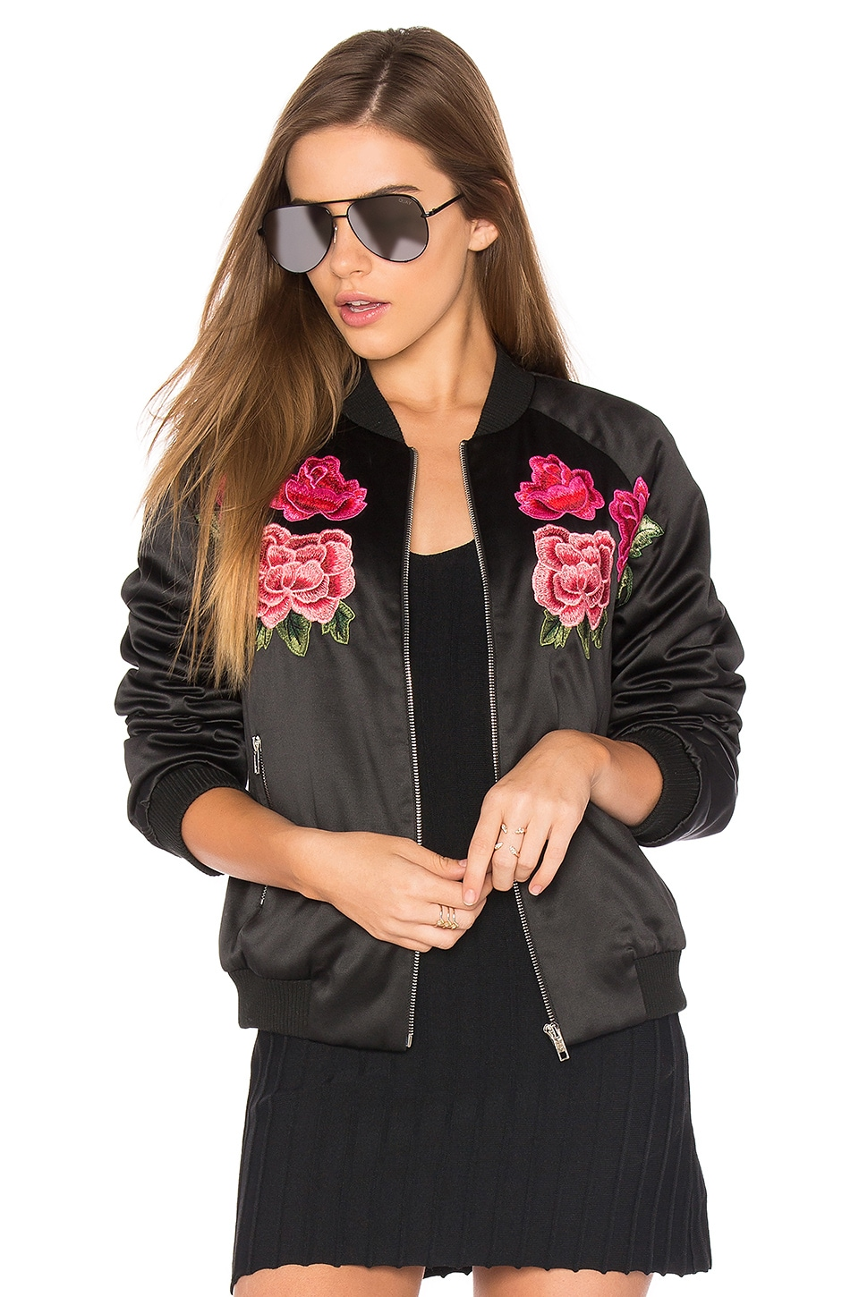 Endless Rose Floral Embroidered Bomber in Black