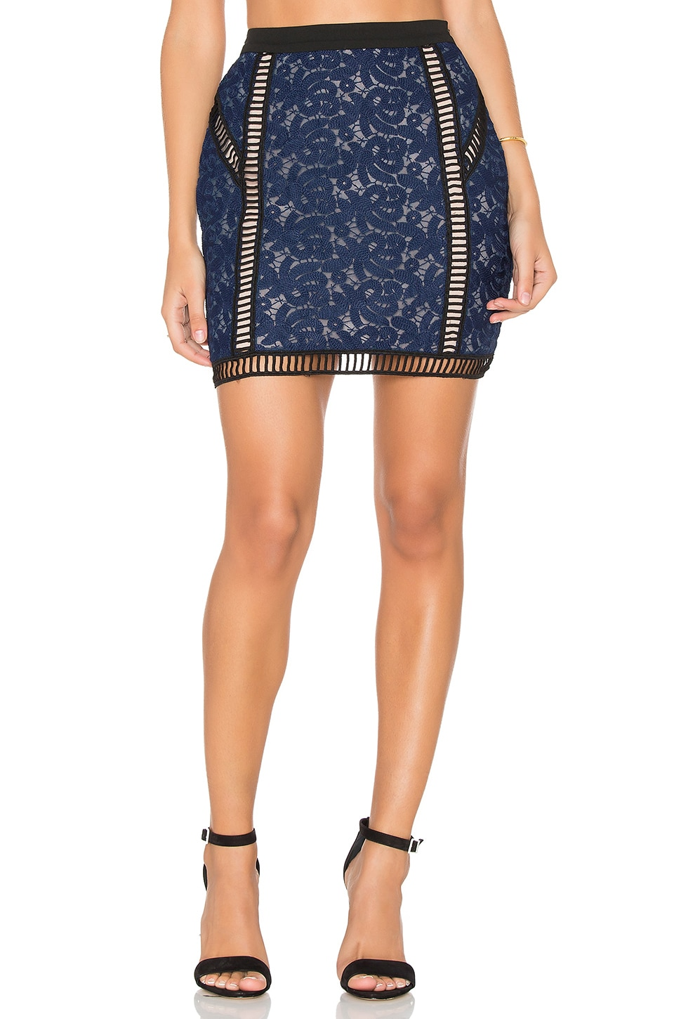 Endless Rose Mini Skirt in Navy & Black