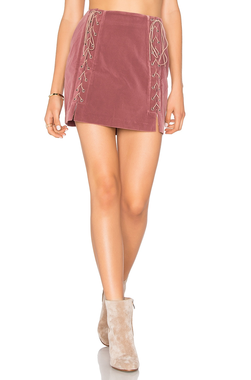 Endless Rose Lace Up Skirt in Mauve