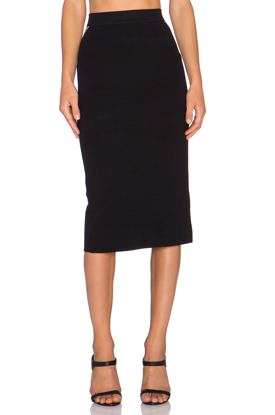 Endless Rose Slit Back Midi Skirt in Black