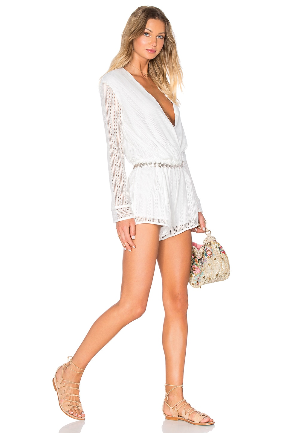 Endless Rose Long Sleeve Romper in White