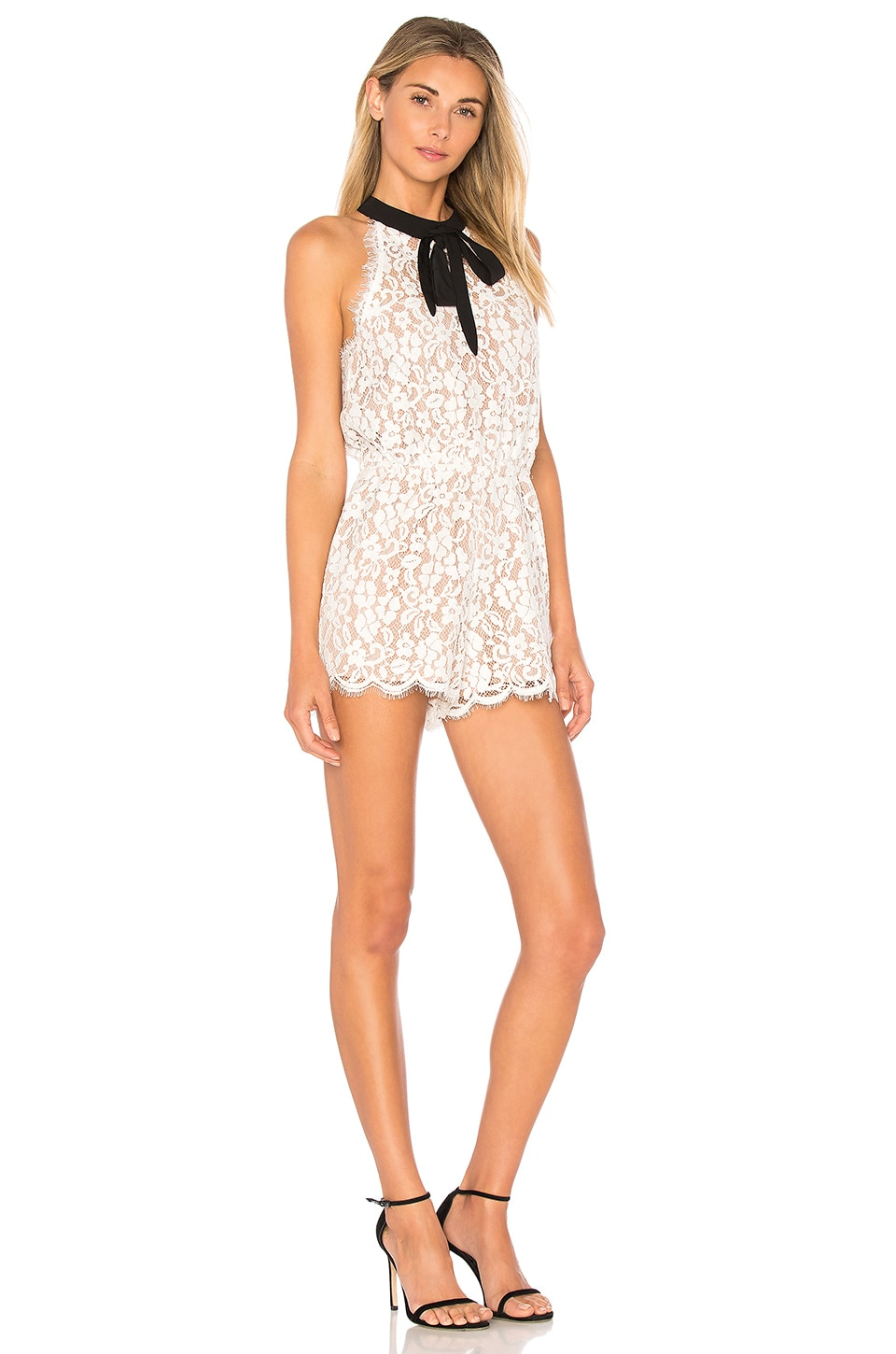 Endless Rose Tied Ribbon Lace Romper in Off White Combo