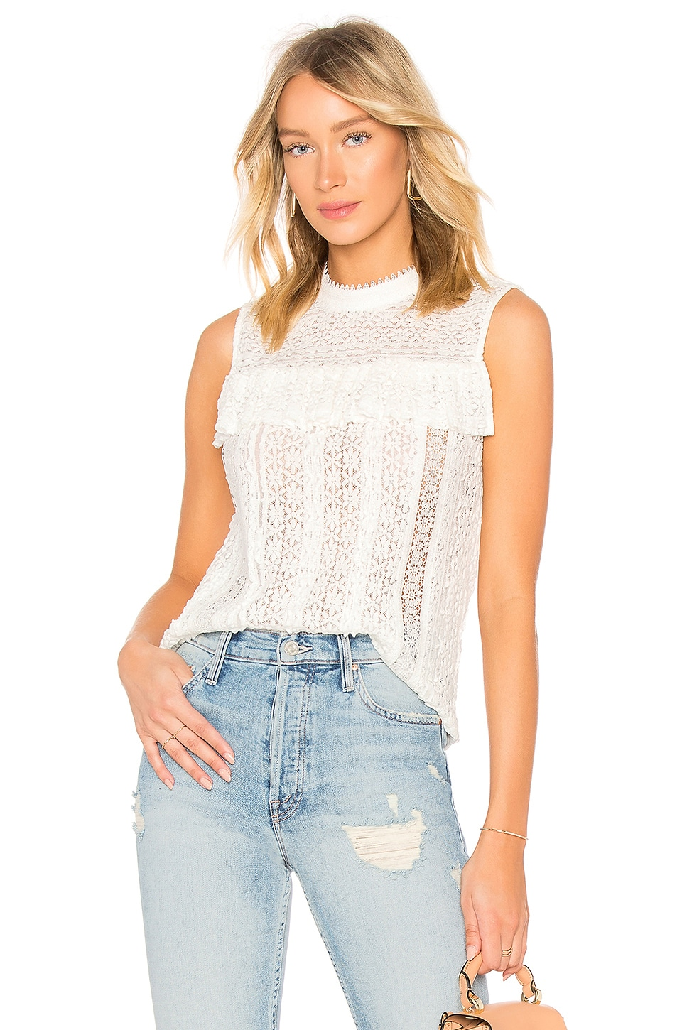 Endless Rose Sleeveless Lace Top in Off White