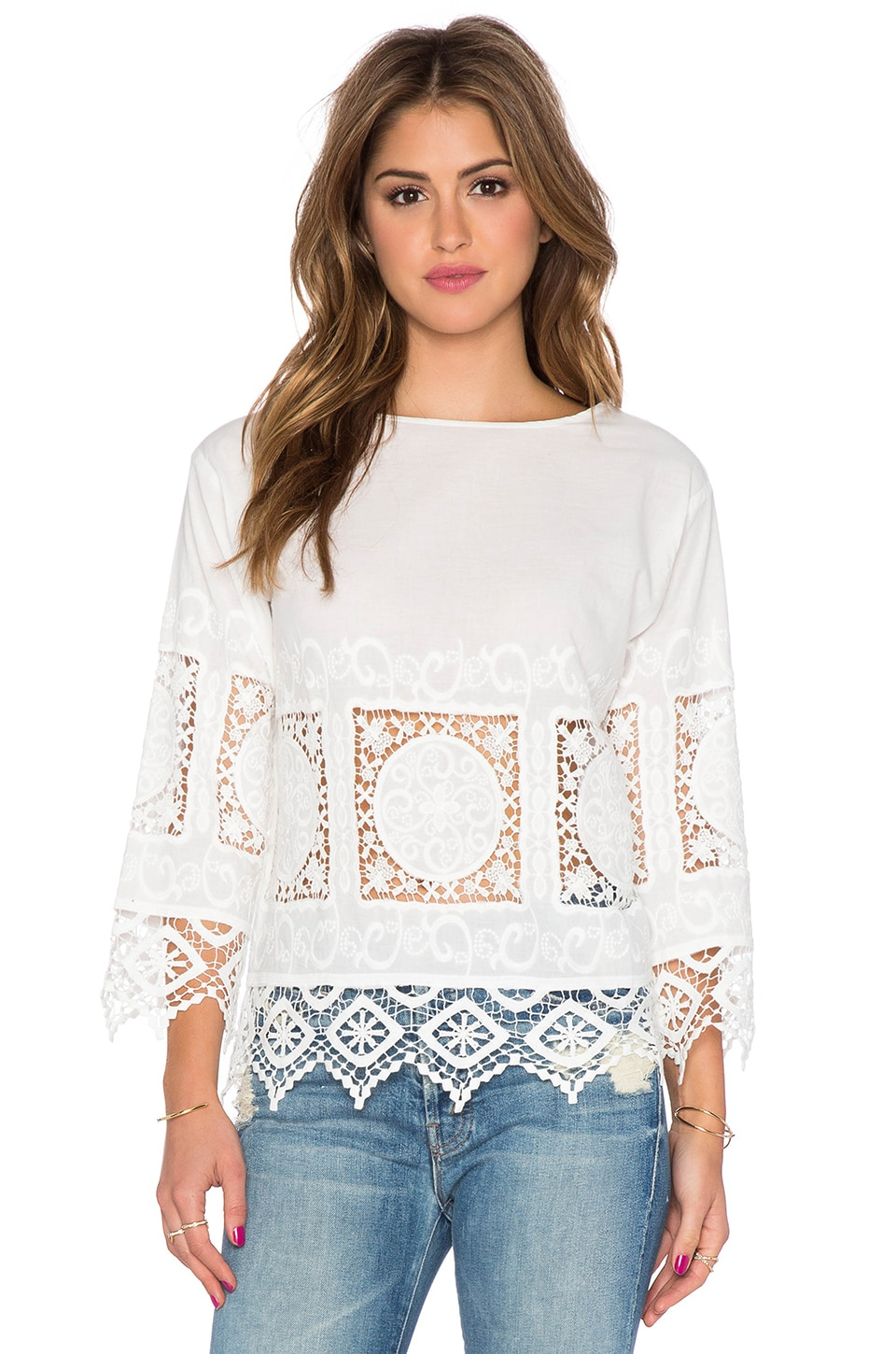Endless Rose Crochet Long Sleeve Top in White
