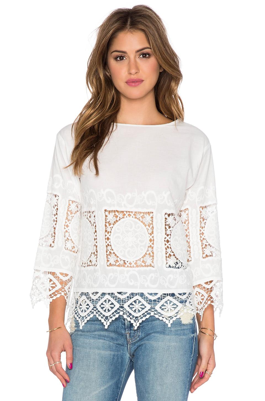 Endless Rose Crochet Long Sleeve Top in White