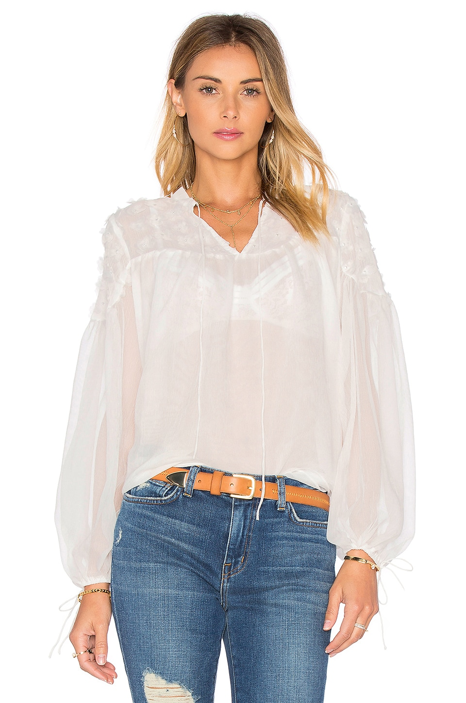 Endless Rose Long Sleeve Blouse in White