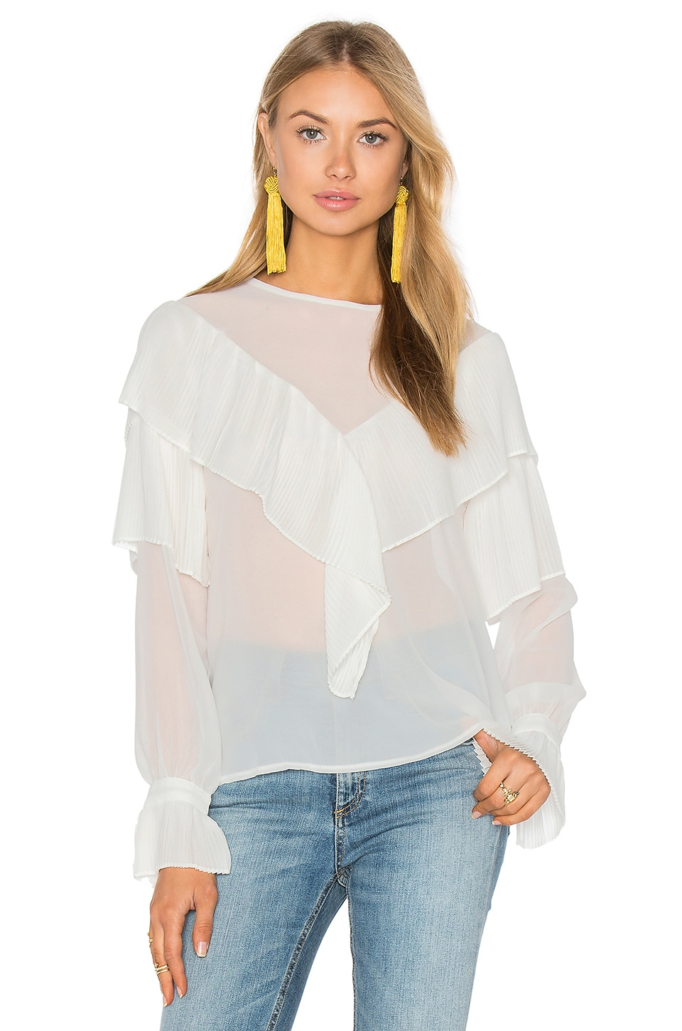 Endless Rose Ruffle Blouse in White
