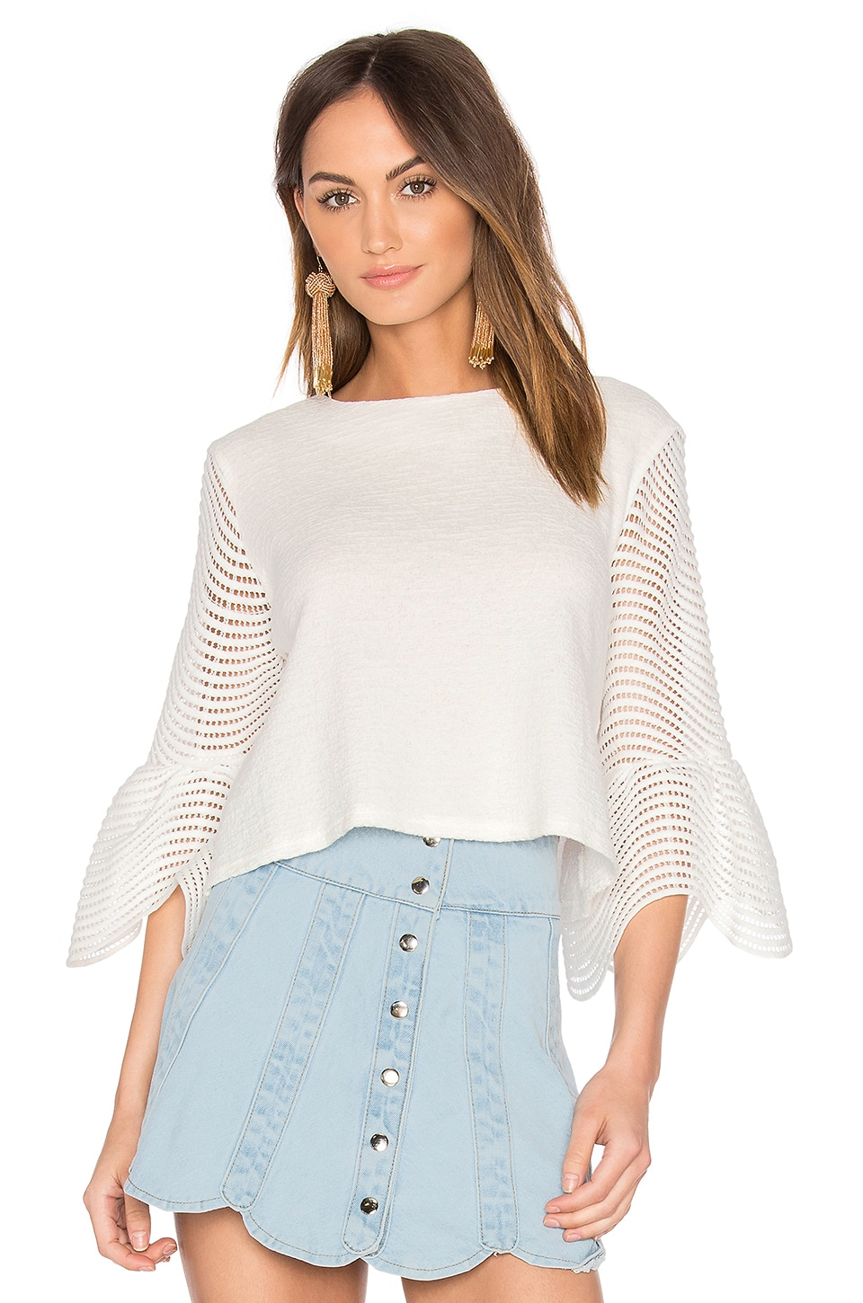Endless Rose Cropped Bell Sleeve Top in Off White