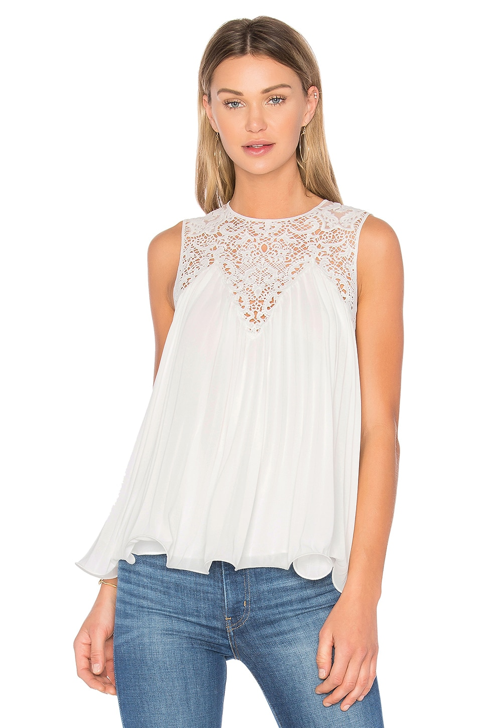 Endless Rose Lace Detail Pleated Top in Off White