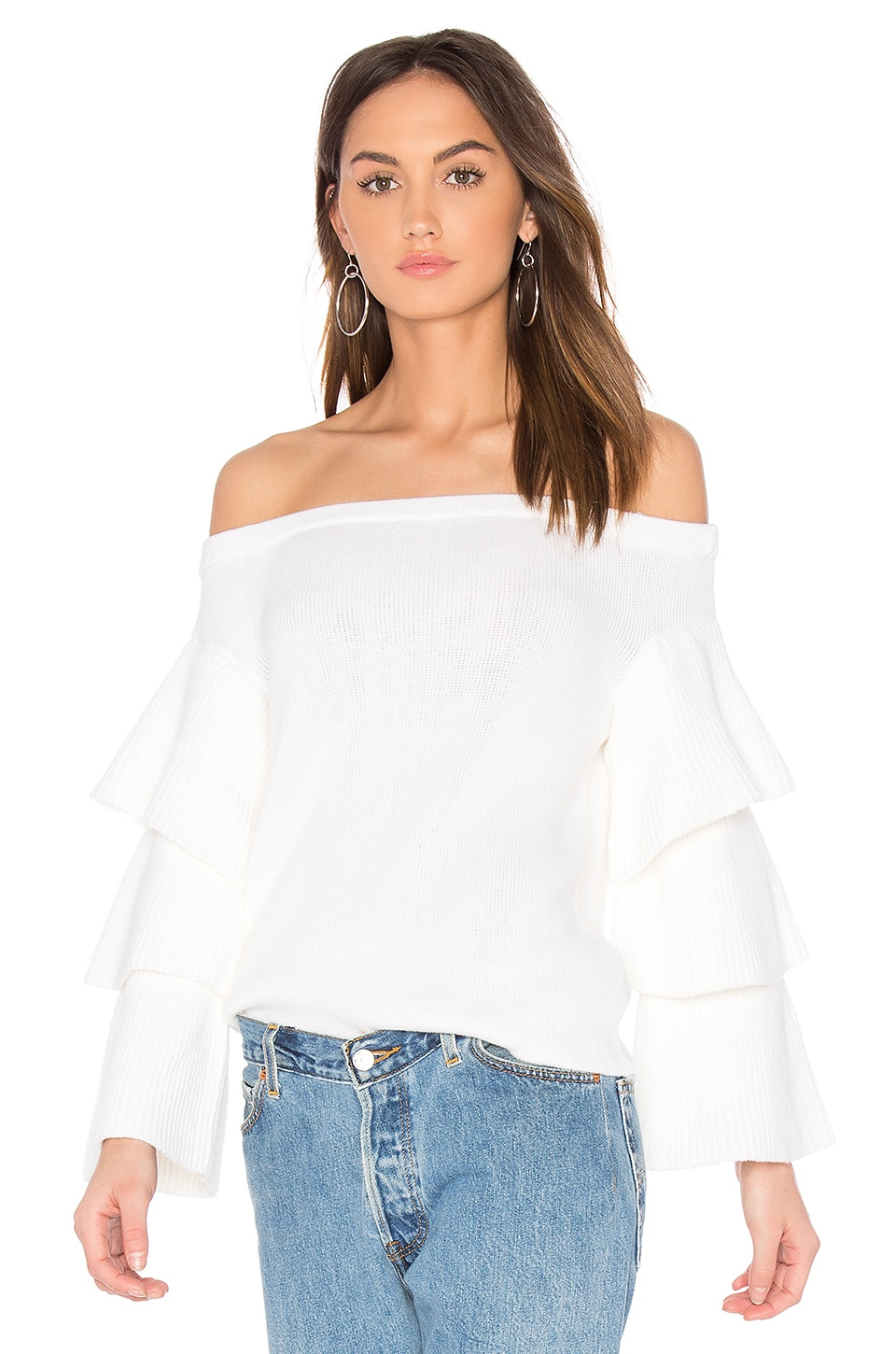 Endless Rose Off the Shoulder Sweater Top in Ivory