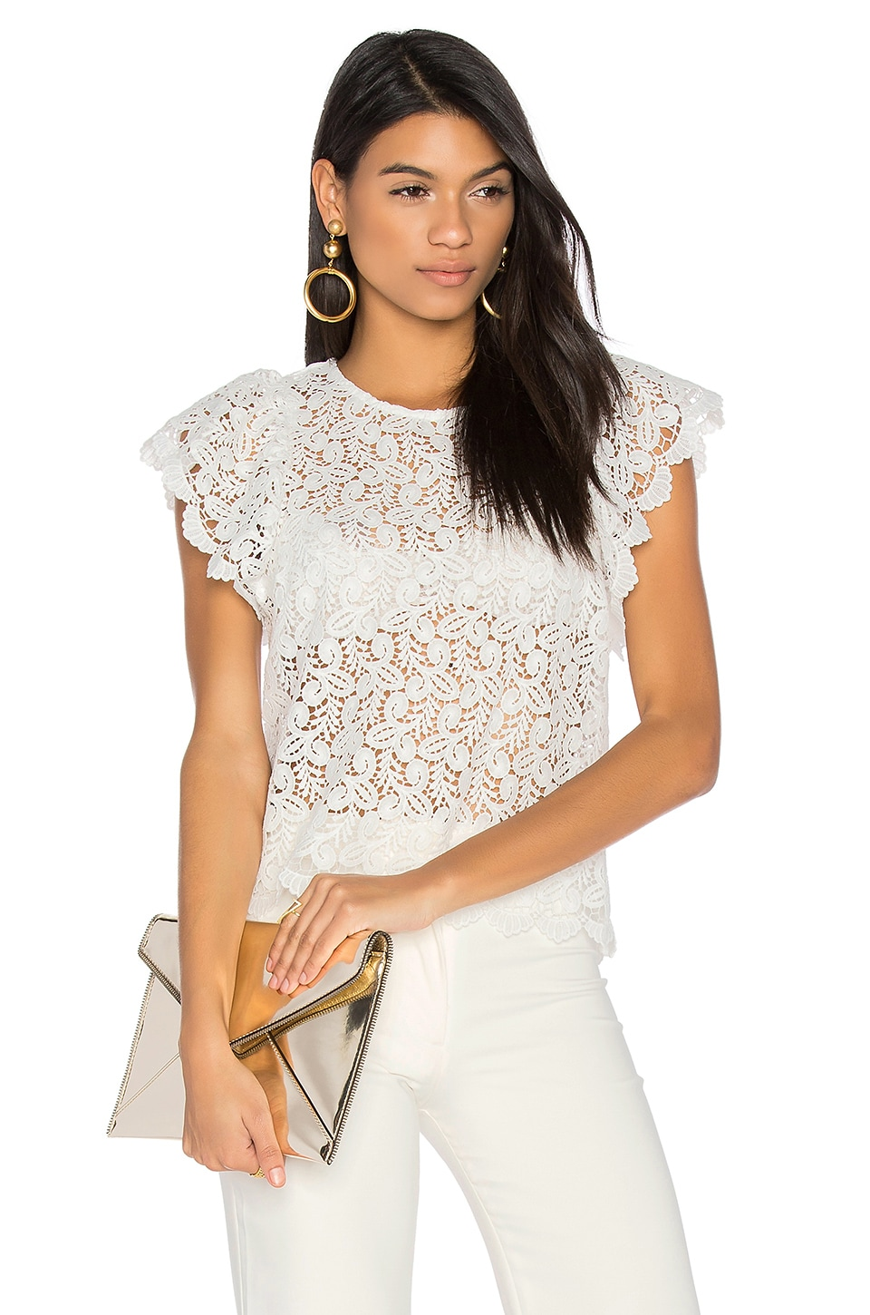 Endless Rose Ruffled Sleeve Top in Off White