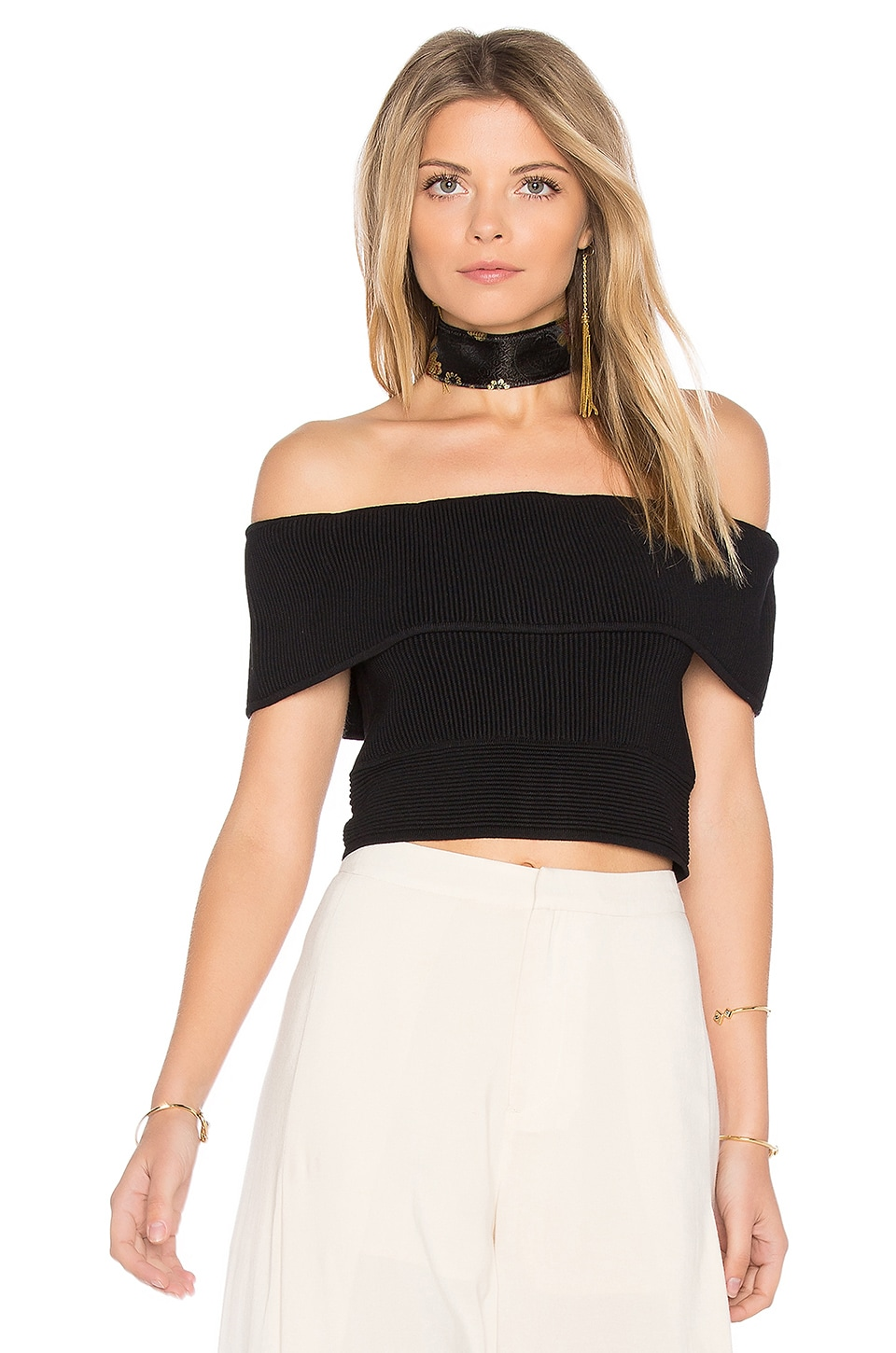 Open Shoulder Crop Top by Endless Rose