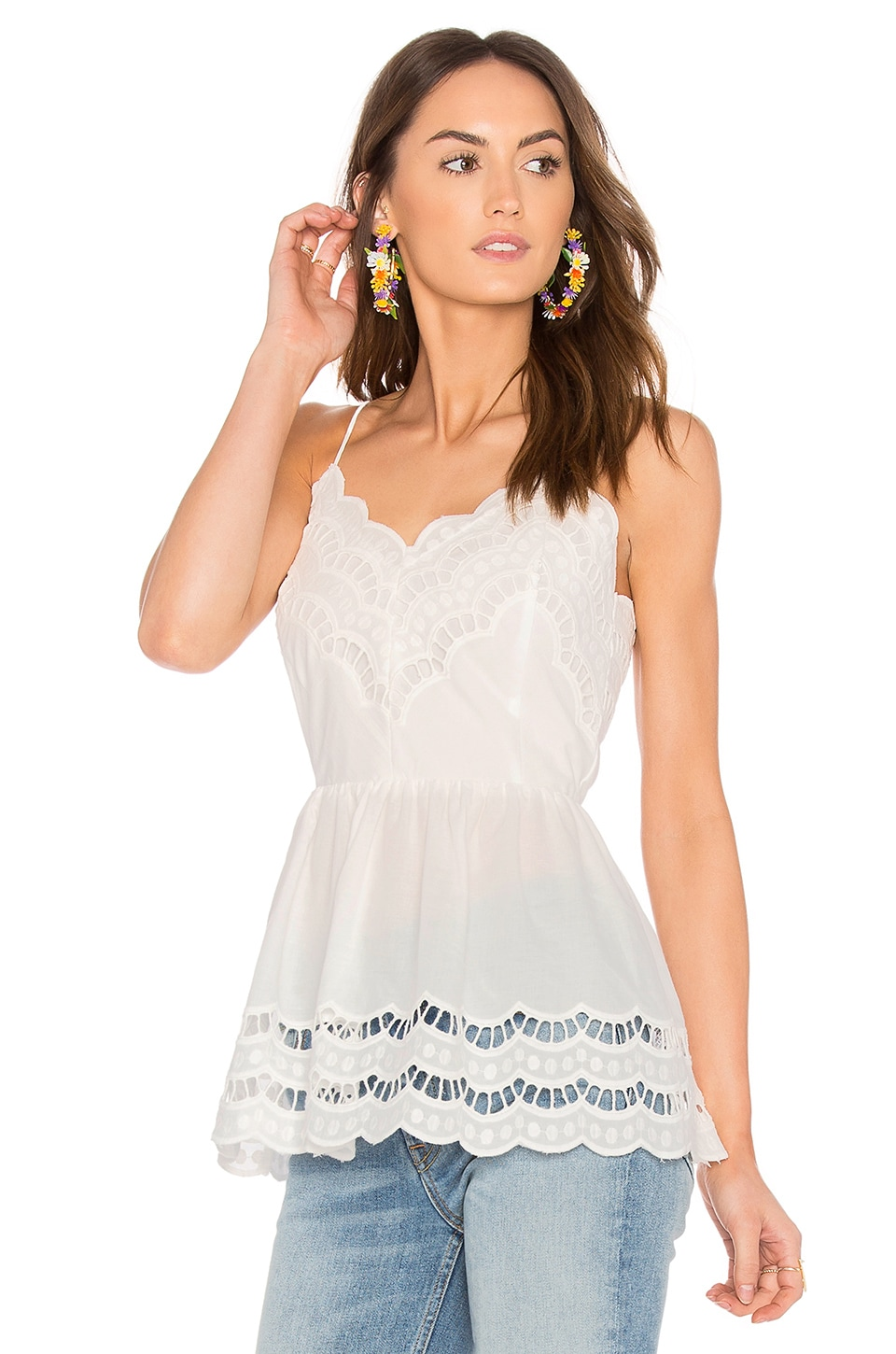 Endless Rose Lace Trim Detail Top in White
