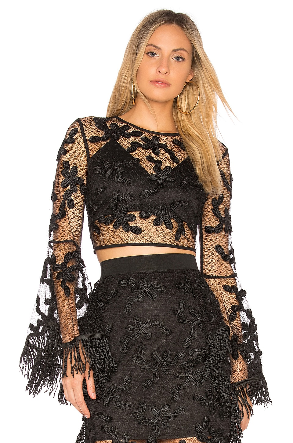 Endless Rose Floral Lace Crop Top in Black