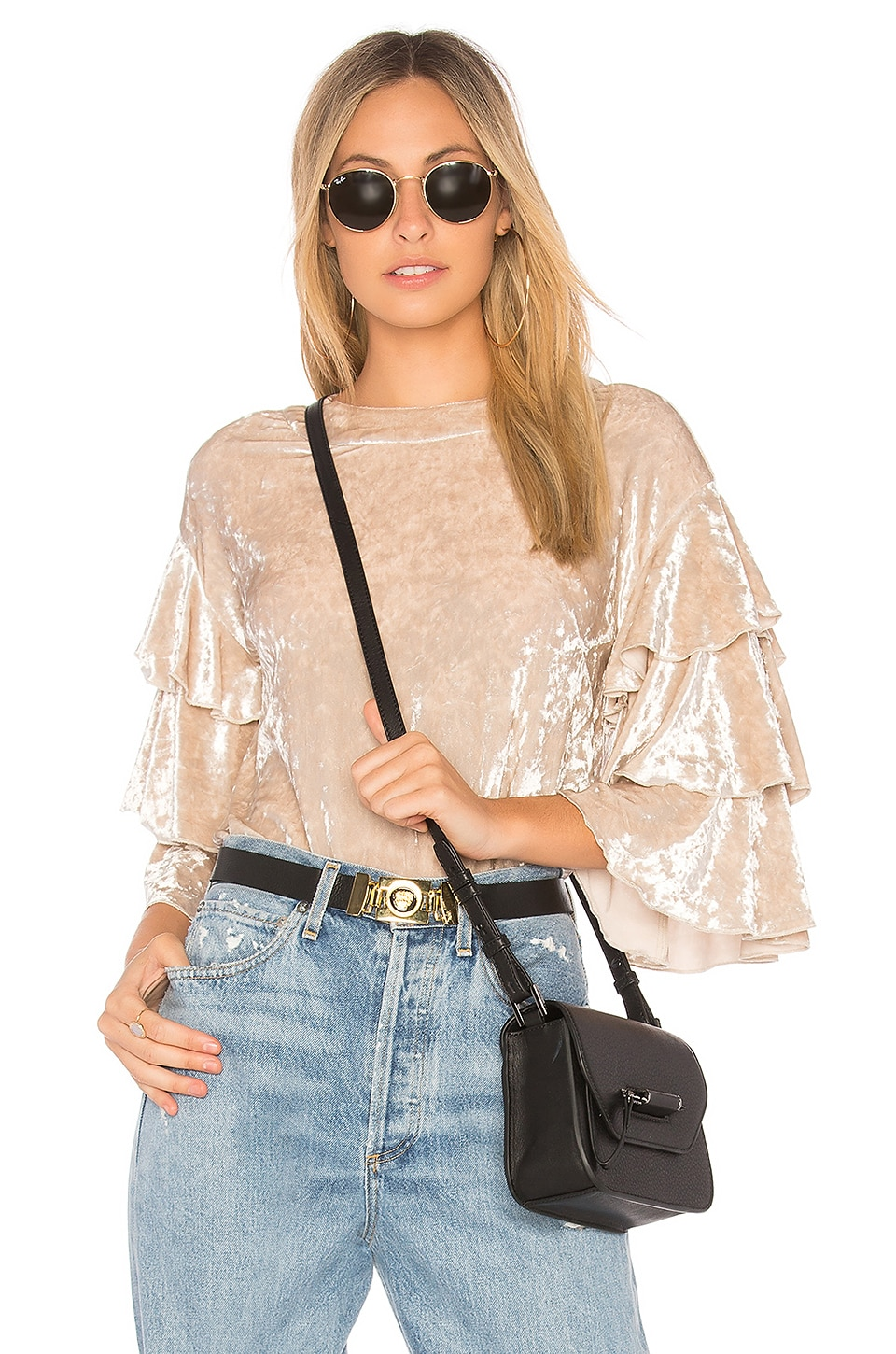 Endless Rose Crushed Velvet Top in Oyster