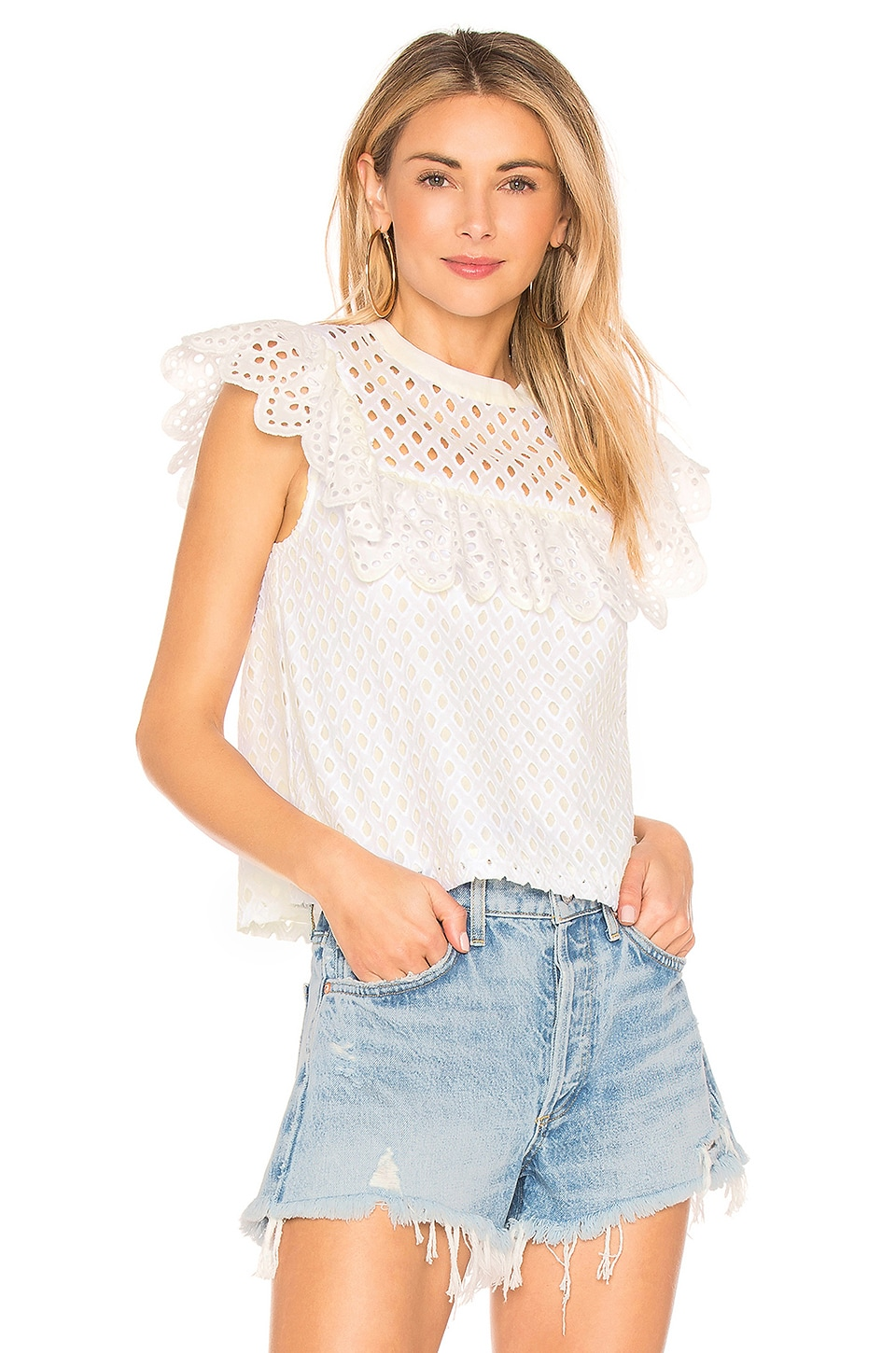 Endless Rose Eyelet Blouse in Off White