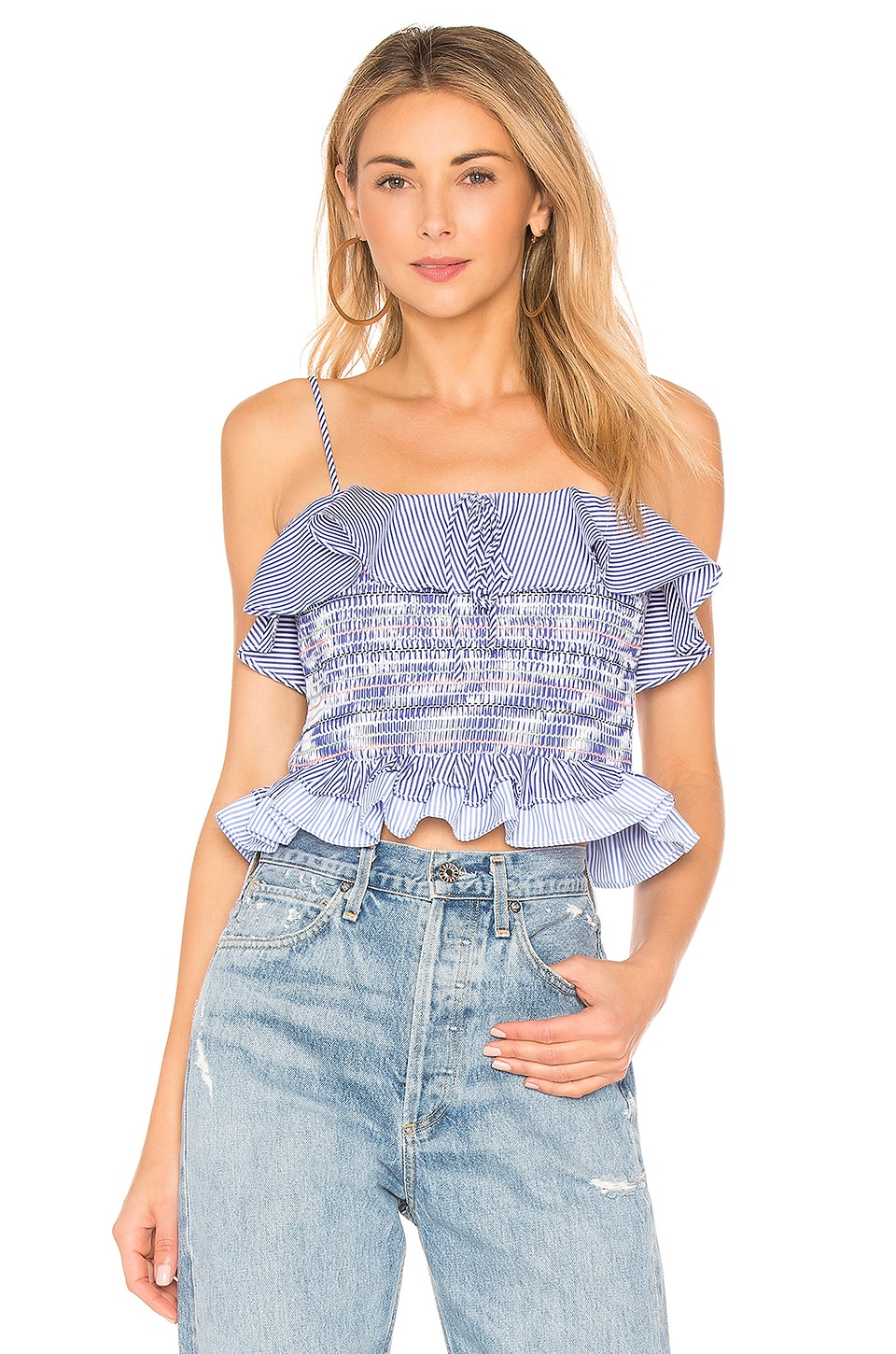 Endless Rose Smocked Ruffle Top in Powder Blue