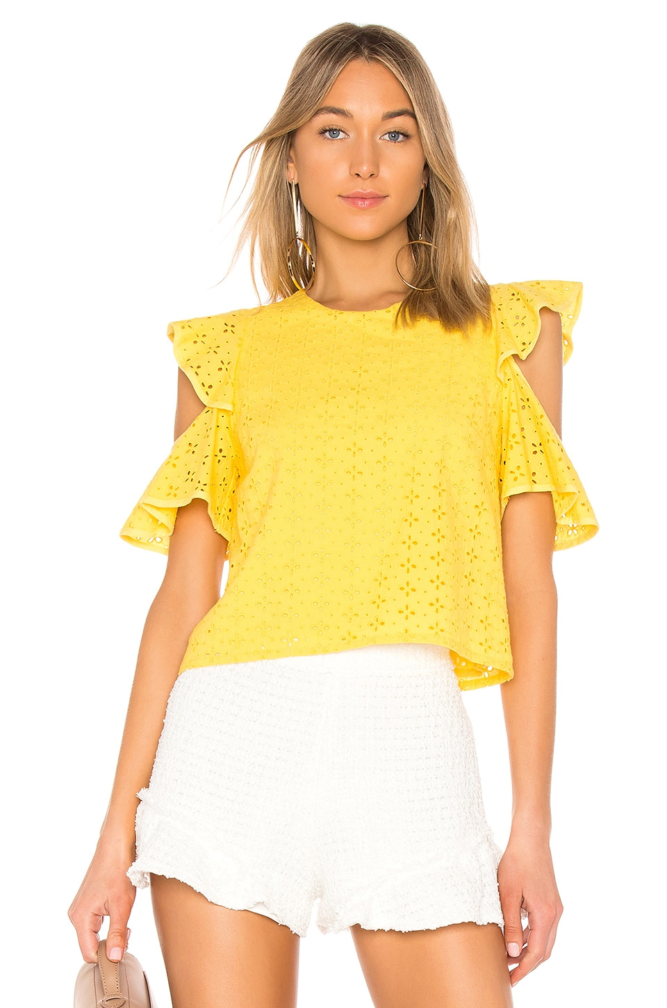 Endless Rose Eyelet Cold Shoulder Top in Lemon