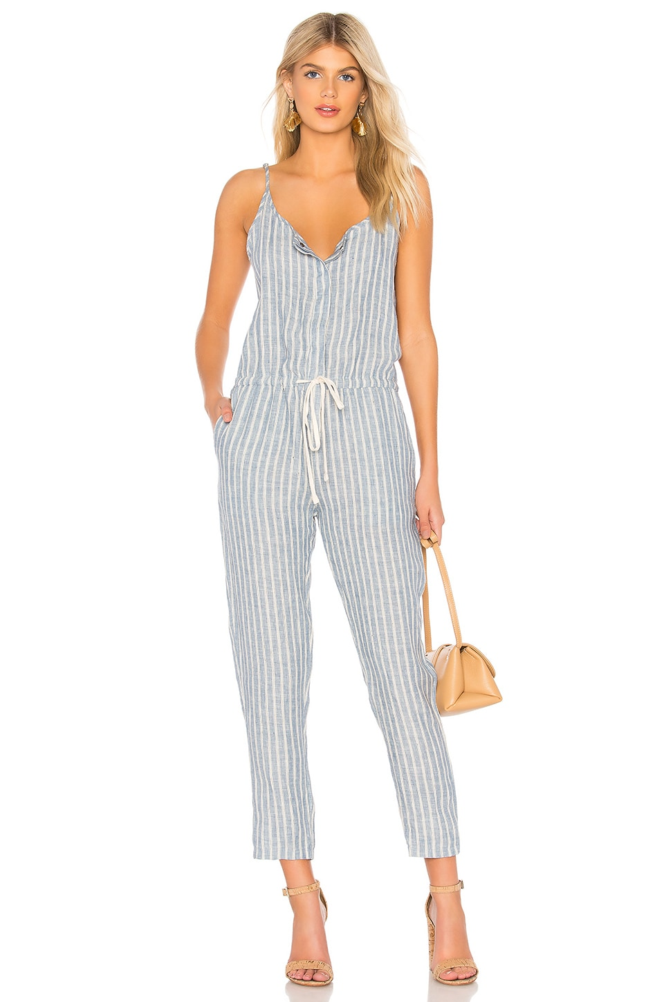 Enza Costa Linen Strappy Jumpsuit in Engineer Stripe