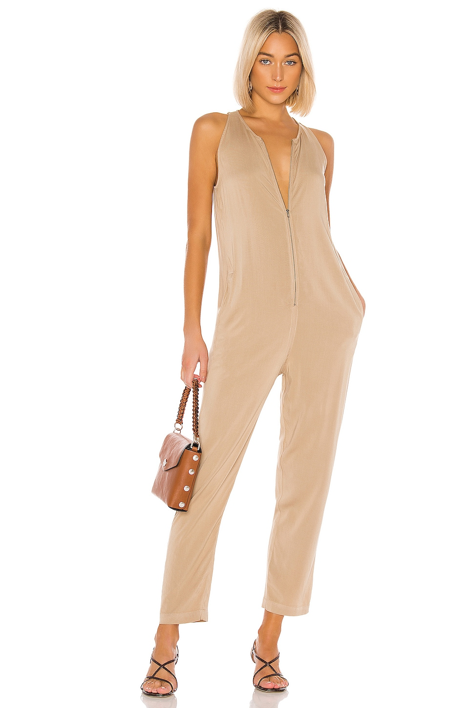 Enza Costa Sleeveless Front Zip Jumpsuit in Khaki