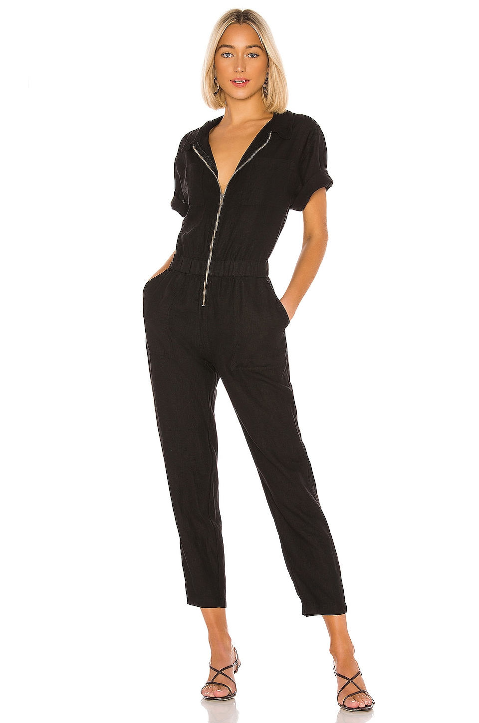 Enza Costa Linen Short Sleeve Jumpsuit in Black