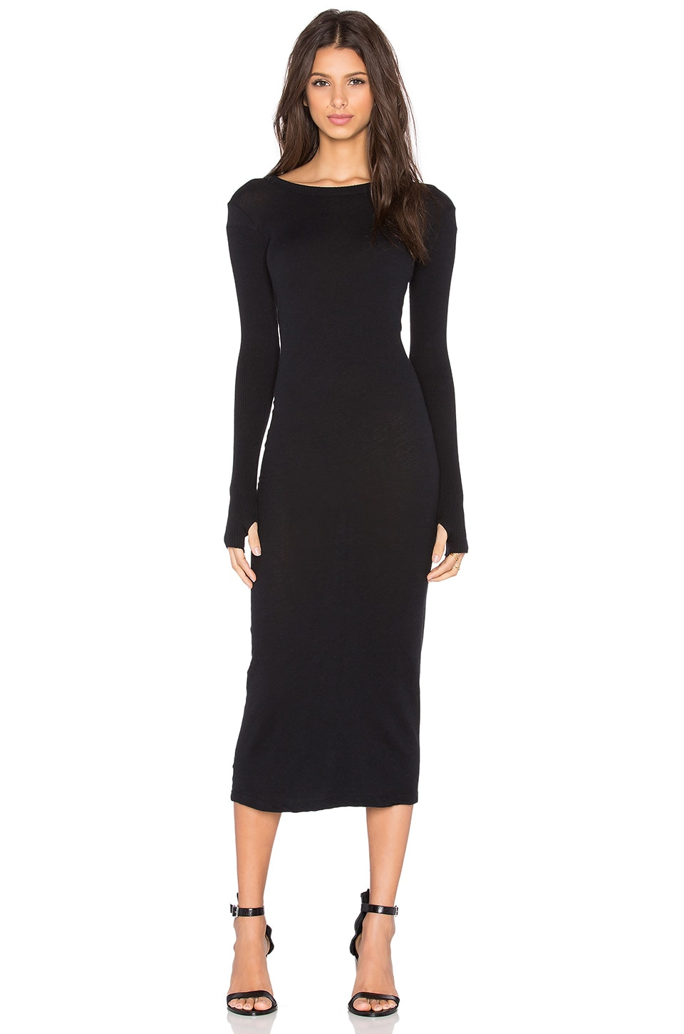 Enza Costa Cashmere Long Sleeve Crew Neck Dress in Black