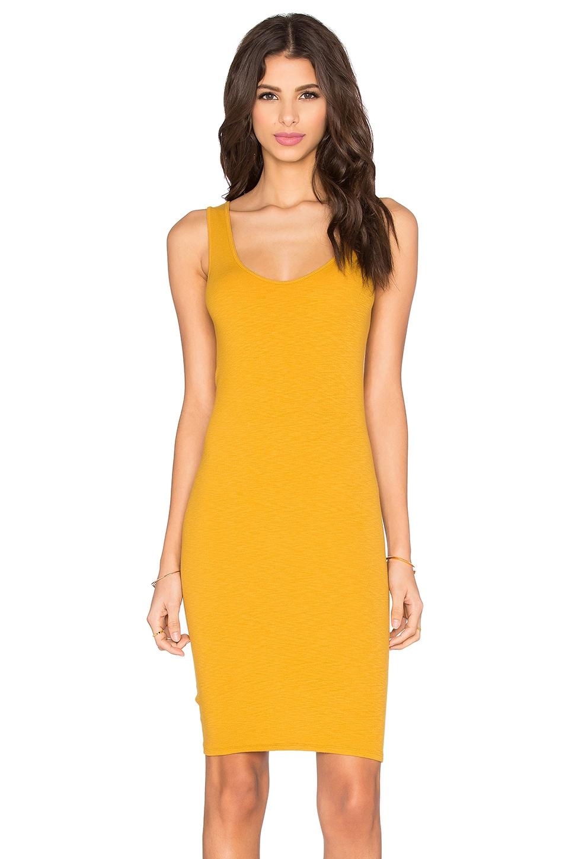 Enza Costa Rib Tank Mini Dress in Saffron