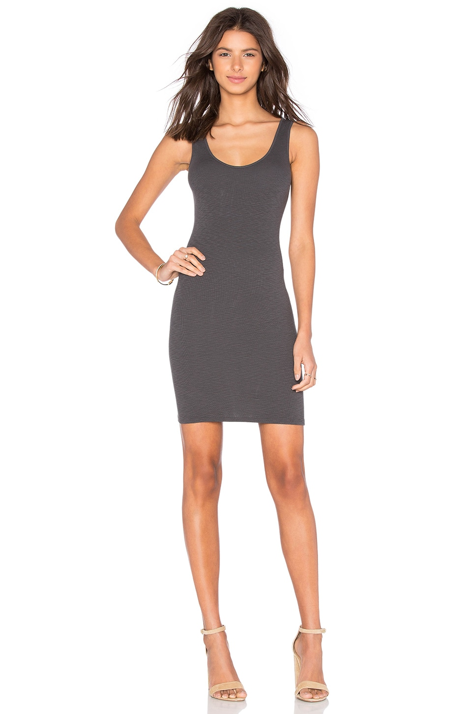 Enza Costa Rib Tank Mini Dress in Iron