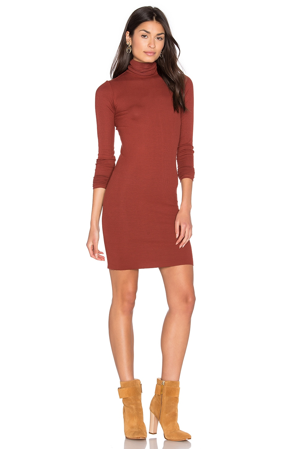 Rib Long Sleeve Turtleneck Mini Dress by Enza Costa