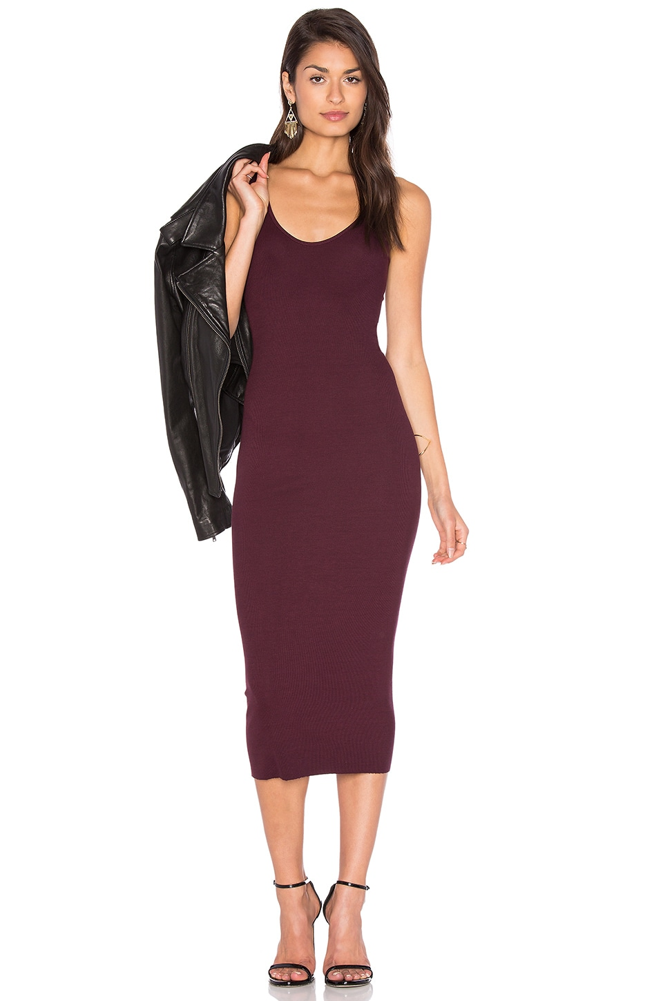 Enza Costa Rib Tank Dress in Port