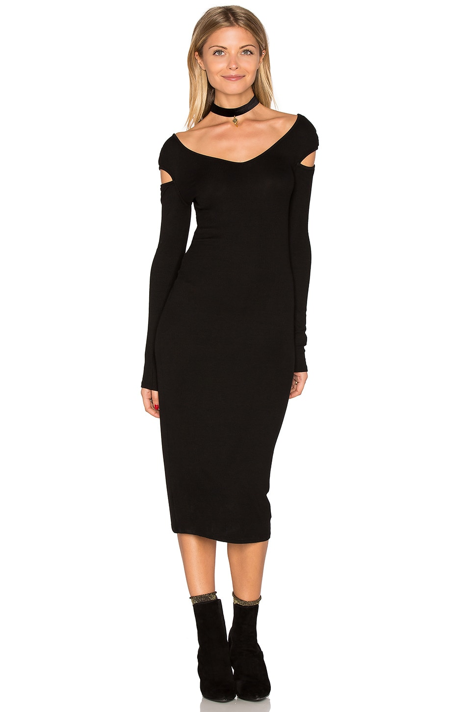 Cut Out Shoulder Midi Dress by Enza Costa