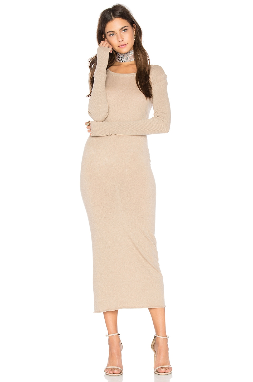 Enza Costa x REVOLVE Cashmere Long Sleeve Crew Dress in Khaki